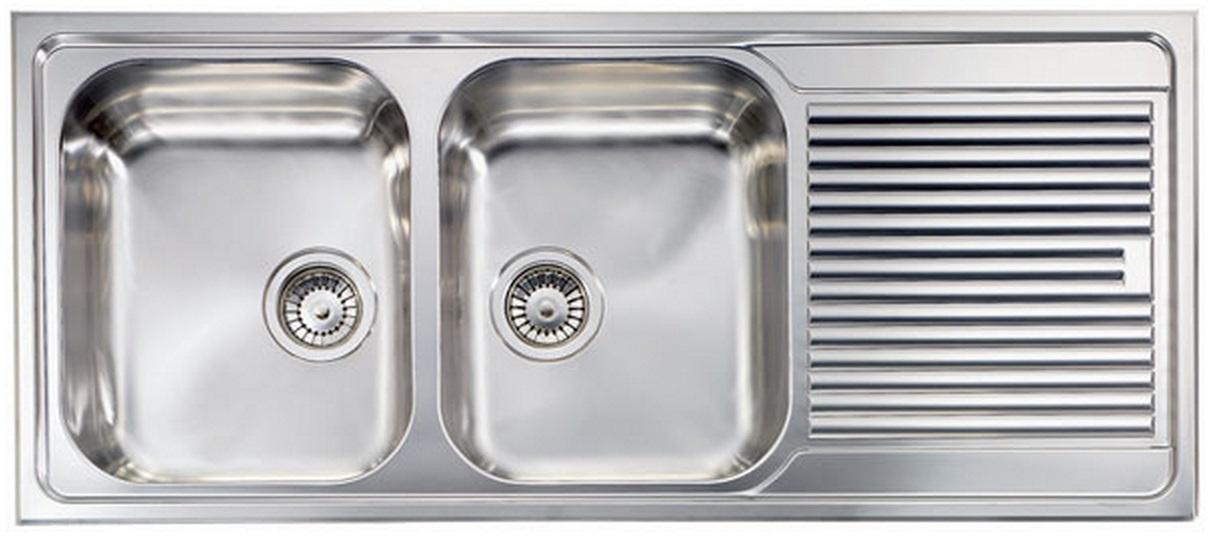 Lavello da incasso, 2 vasche a Sinistra SX , in acciao inox satinato, 116×50 CM, Lavelli Foligno ...