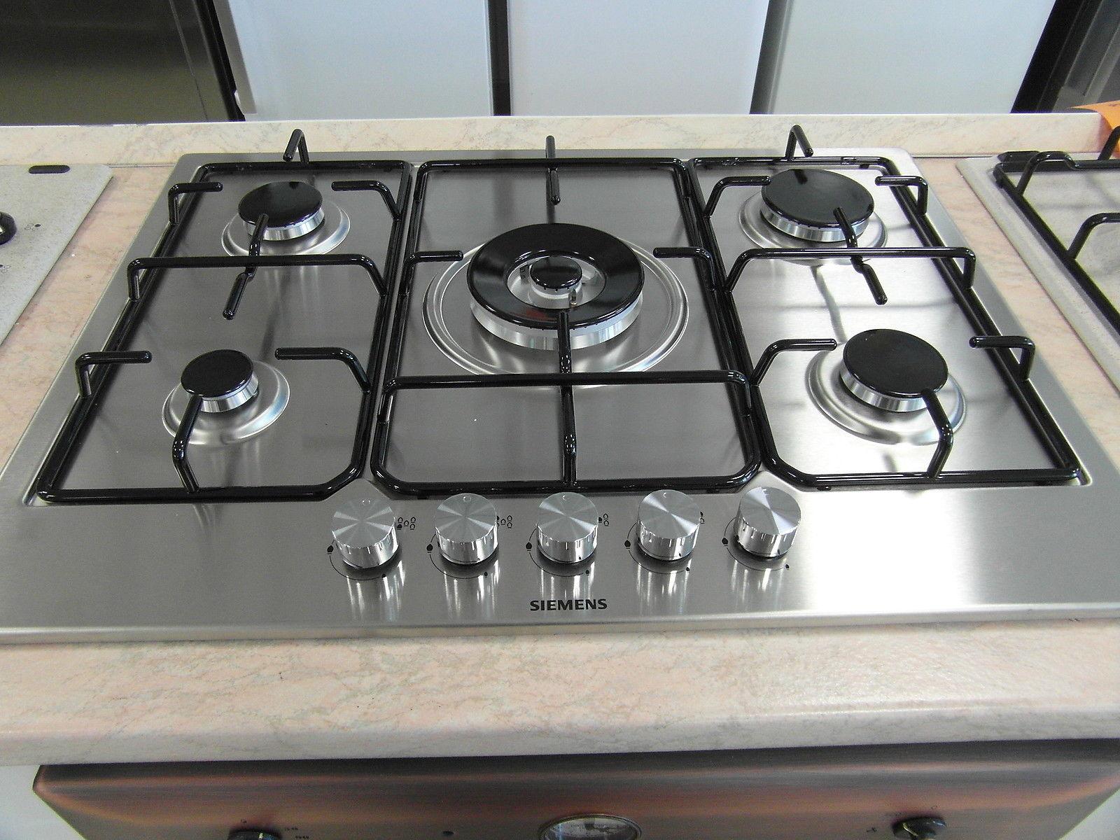 Piano cottura da incasso inox 5 fuochi bruciatori con fornello wok accensione elettrica e - Rex electrolux cucine a gas ...